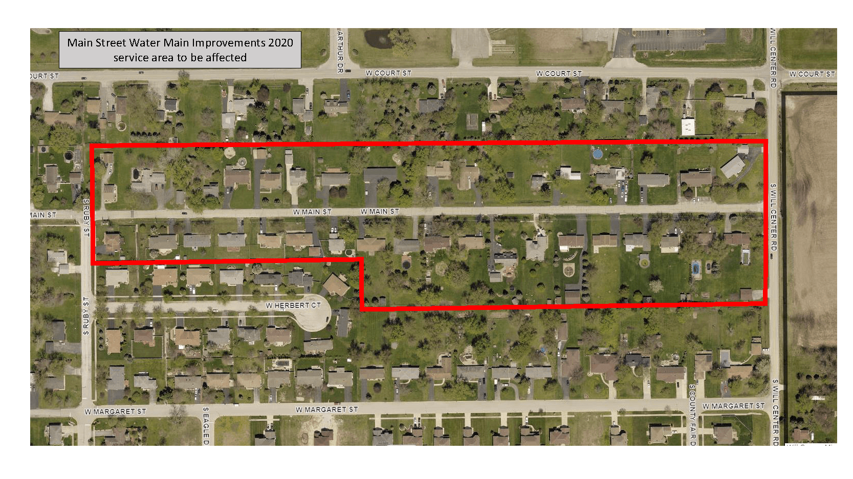 Main Street Water Main Replacement service area map